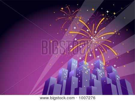 poster of Fireworks Over A City Skyline-Horizontal