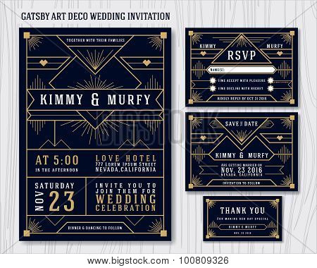 Art Deco Wedding Invitations.Great Gatsby Art Deco Wedding Invitation Design Poster