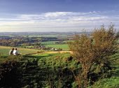 Two Walkers Looking At The View The Barton Hills Bedfordshire