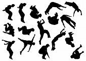 stock photo of parkour  - Vector drawing jumping and climbing men - JPG