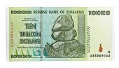 Постер, плакат: Zimbabwe ten trillion dollars bill hyper inflation concept This banknote not used in present day