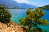 Turkey. Oludeniz. Blue lagoon. Beach, the mountains and the blue bay