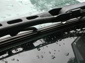 image of glass water  - Windshield wiper after a rain - JPG