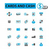 Постер, плакат: Cards and cash icons concept Money finance banknote payment cash register stack of cash dolla