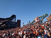 Packed Bleacher Section With Fans Of At&t Park