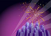 Fireworks Over A City Skyline-Horizontal  poster