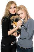 Two Beautiful Young Women With Pekingese