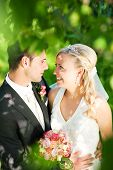 foto of wedding couple  - wedding couple embracing each other moment of joy - JPG