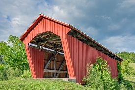 image of yesteryear  - Manchester Covered Bridge built in 1915 crosses Olive Green Creek in rural Noble County Ohio - JPG