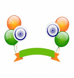 picture of indian flag  - Illustration Colorfool Balloons in Traditional Tricolor of Indian Flag for Independence Day  - JPG