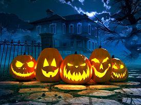 picture of scary haunted  - Halloween night background with scary house and crows and pumpkin - JPG