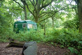 picture of caravan  - shabby romantic caravan in lush green forest