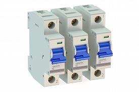 image of breaker  - Miniature circuit breakers isolated on white background - JPG