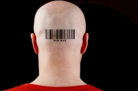 foto of male pattern baldness  - In bald man barcode corresponding text of the old man - JPG