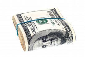 pic of 100 dollars dollar bill american paper money cash stack  - Stack of money - JPG