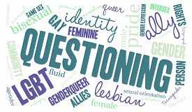 stock photo of intersex  - Questioning word cloud on a white background - JPG