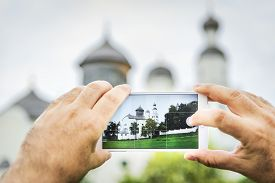pic of scourge  - Mobile shot of pilgrimage church Maria Birnbaum in Germany Bavaria - JPG