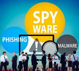 stock photo of spyware  - Spyware Hacking Phishing Malware Virus Concept - JPG