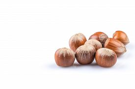 foto of filbert  - Hazelnuts nuts filberts isolated on white background - JPG