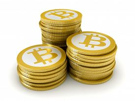 picture of bit coin  - 3d render of abstract bitcoin coins over white background - JPG