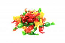 stock photo of bonbon  - color bonbons isolated on the white background - JPG