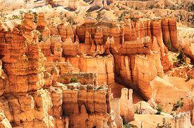 foto of hoodoo  - spectacular Hoodoo rock spires of Bryce Canyon Utah USA - JPG