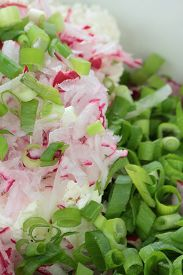 image of grated radish  - Grated radish chopped chives and fresh cottage cheese - JPG