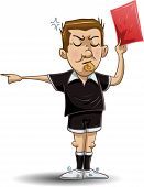 Soccer Referee Holds Red Card