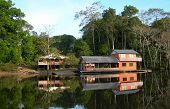 stock photo of negro  - Houseboat in the rainforest on Rio Negro in the Amazon River basin - JPG