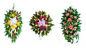 Collection of arranged flower wreaths