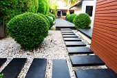 Garden Path On White Pebbles And Lush Green Trees. poster