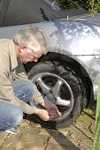 Man Checking Car Tyre Pressure