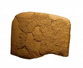 stock photo of sumerian  - ancient cuneiform writing on clay tablets on white - JPG
