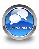 Testimonials (chat Icon) Glossy Blue Round Button poster