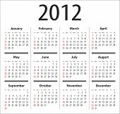 stock photo of thursday  - Calendar for 2012 - JPG