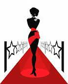 Woman silhouette on a red carpet