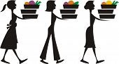 Silhouette women meal assembly cooking