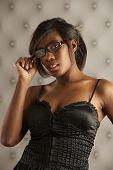 Flirting Model Wearing Glasses