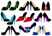 image of high heels  - Illustration of different shoes isolated on white background - JPG