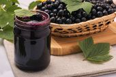 Black Currant Jam With Black Currant Preservation In A Jar poster