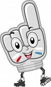 Illustration of a Hand Mascot with a Raised Index Finger