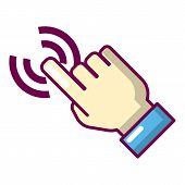Cursor Hand Icon. Cartoon Illustration Of Cursor Hand Icon For Web poster