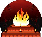 image of customary  - Illustration of Hom am with flames in radiant red - JPG