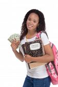 education fundraiser financial aid Ethnic black African-American college student holds pile 20 (twen