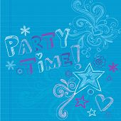 Happy Birthday Party Time Sketchy Back to School Hand-Drawn Notebook Doodles Vector Illustration Design Elements on Lined Sketchbook Paper Background