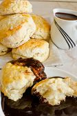 image of biscuits gravy  - Scones with chocolate gravy - JPG