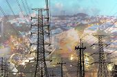 Transmission Line Of Electricity With Cityscape Background, Electricity Transmission Pylon For Indus poster