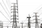 Electricity Transmission Line On White Background, Transmission Line Of Electricity To Rural, High V poster