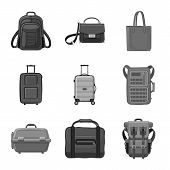 Vector Design Of Suitcase And Baggage Symbol. Collection Of Suitcase And Journey Vector Icon For Sto poster