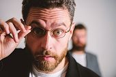 Now I See Everything. Picky Smart Inspector. Man Handsome Bearded Guy Wear Eyeglasses. Eye Health An poster